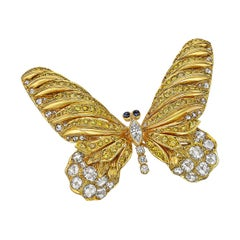 Cartier Yellow and White Diamond Large Butterfly Pin