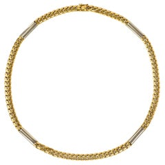 Cartier Yellow and White Gold Curb Link Chain