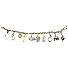 Cartier Yellow and White Gold Diamond Charm Bracelet