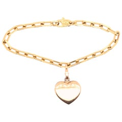 Cartier Yellow and White Gold Heart Charm on Yellow Gold Chain Bracelet