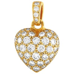 Cartier Yellow Gold, 1.00 Carat Full Diamond Pave Heart Pendant