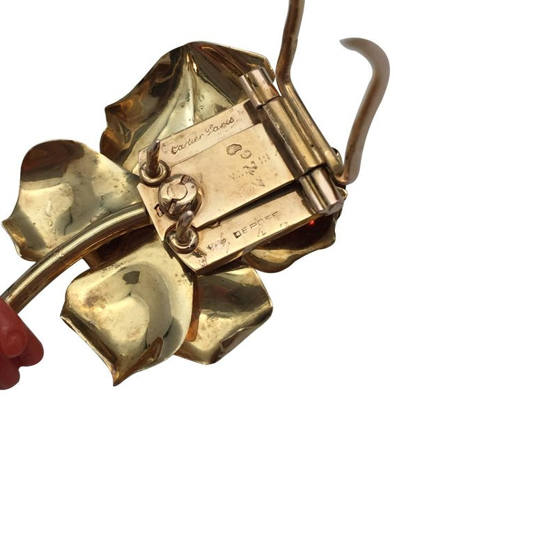Post-War  Cartier Paris 1930s Surrealist Coral Diamond Brooch For Sale