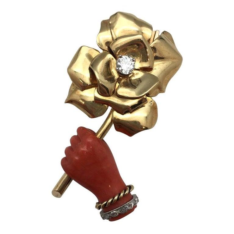 Cartier Paris 1930s Surrealist Coral Diamond Brooch For Sale