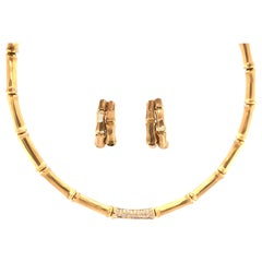 Cartier Yellow Gold and Diamond Bamboo Necklace and Earrings Set