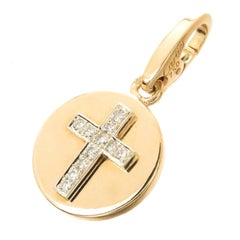 Cartier Yellow Gold and Diamond Cross Charm