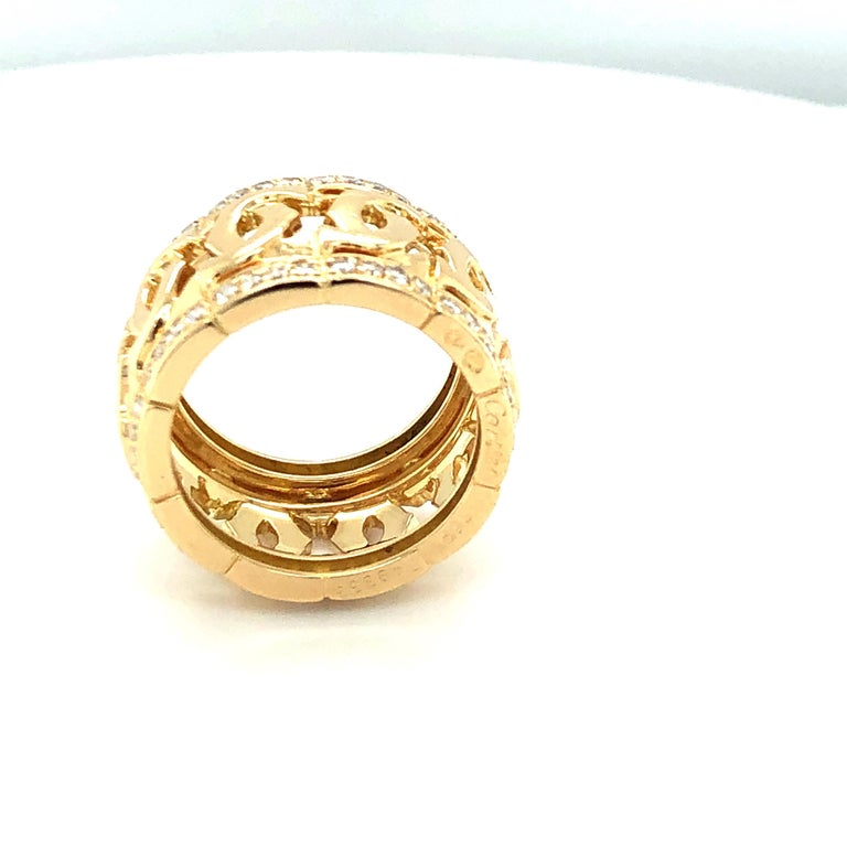 Modern Cartier Yellow Gold and Diamond Signature C Ring For Sale
