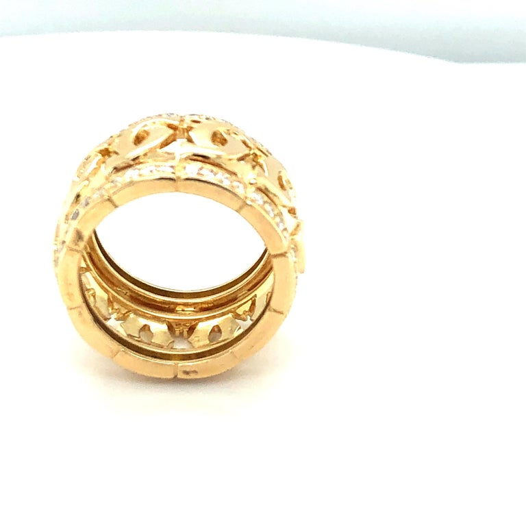 Round Cut Cartier Yellow Gold and Diamond Signature C Ring For Sale