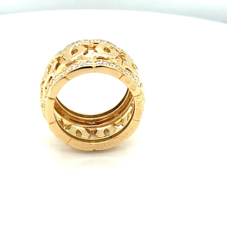 Cartier Yellow Gold and Diamond Signature C Ring In Good Condition For Sale In Dallas, TX