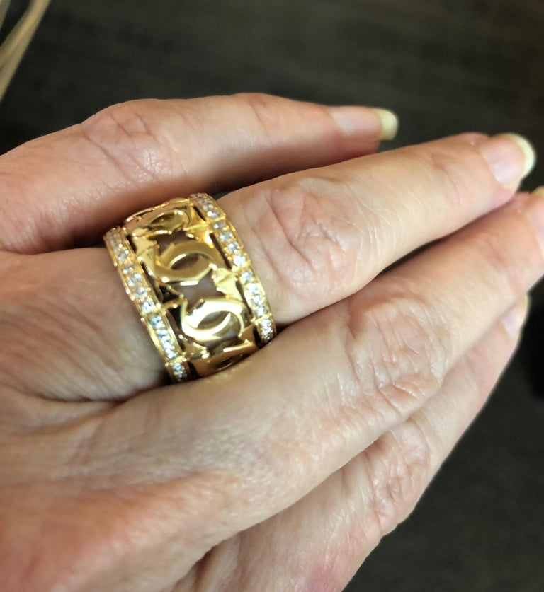 Women's Cartier Yellow Gold and Diamond Signature C Ring For Sale