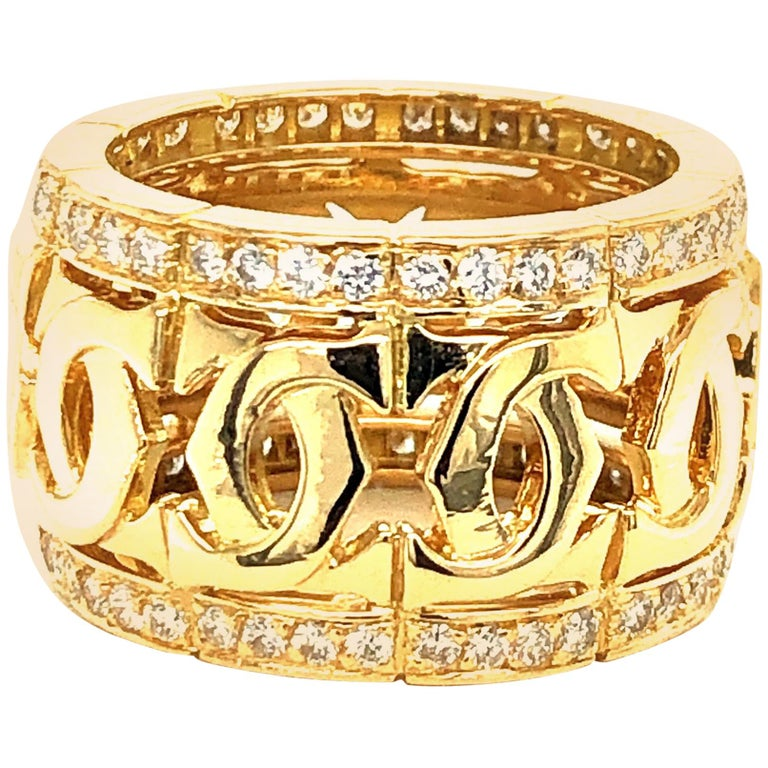 Cartier Yellow Gold and Diamond Signature C Ring For Sale