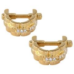 Cartier Yellow Gold and Diamond Stirrup Cufflinks