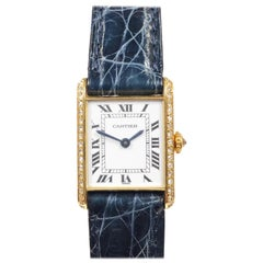 Cartier Yellow Gold and Diamonds Classic Ladies Mechanical Tank Wristwatch