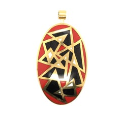 Cartier Yellow Gold and Enamel Pendant