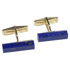 Cartier Yellow Gold and Lapis Vintage Cufflinks