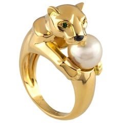 Cartier Yellow Gold and Pearl Panthere Ring with Emerald Eyes