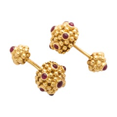 Cartier Yellow Gold and Ruby Cufflinks