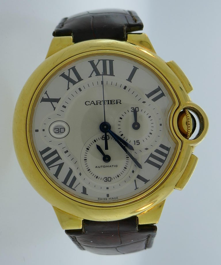 Cartier Yellow Gold Ballon Bleu Automatic Wristwatch 44mm XL Chronograph In Good Condition For Sale In Beverly Hills, CA
