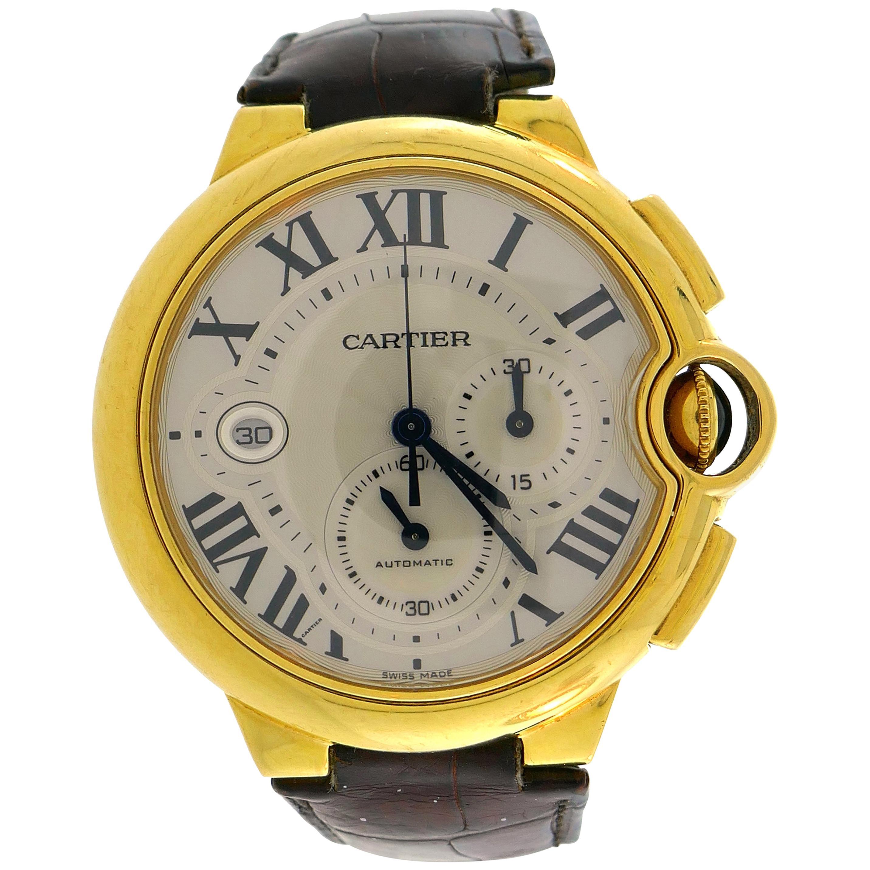 Cartier Yellow Gold Ballon Bleu Automatic Wristwatch 44mm XL Chronograph