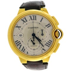 Cartier Yellow Gold Ballon Bleu Automatic Wristwatch 44mm XL Chronograph