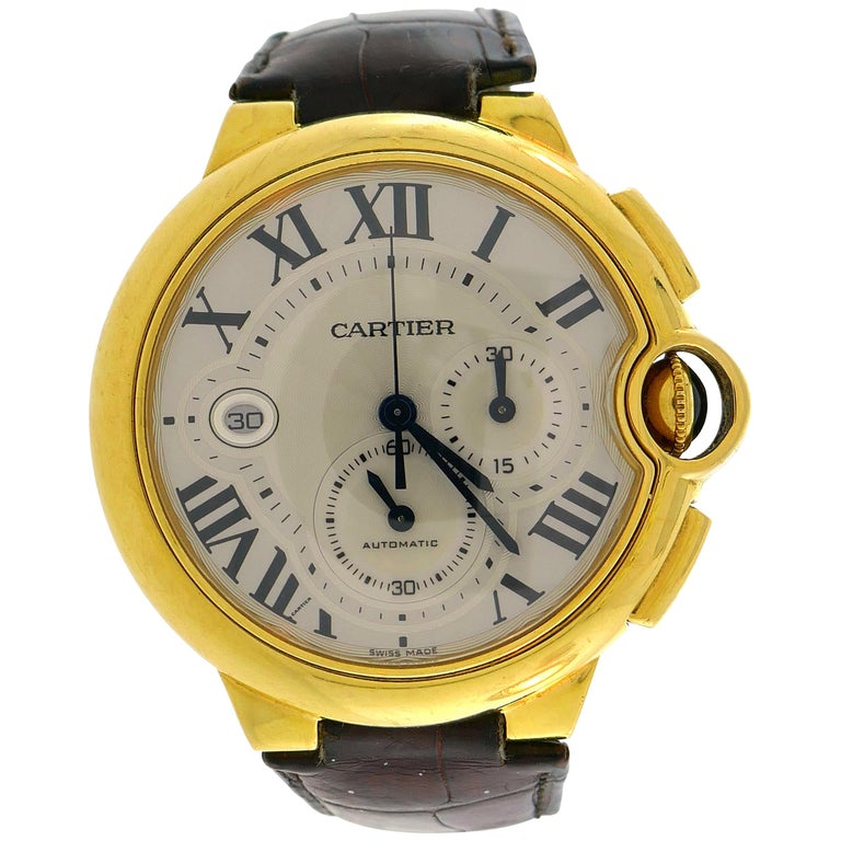 Cartier Yellow Gold Ballon Bleu Automatic Wristwatch 44mm XL Chronograph For Sale