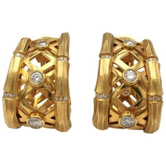 Cartier Yellow Gold Bamboo and Diamond Earrings