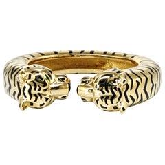 Cartier Yellow Gold Black Enamel Emerald and Onyx Cuff Panthere Bangle Bracelet