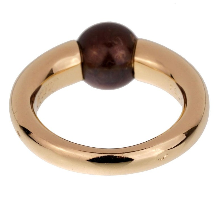 Cartier Yellow Gold Black Pearl Ring In Good Condition For Sale In Feasterville, PA
