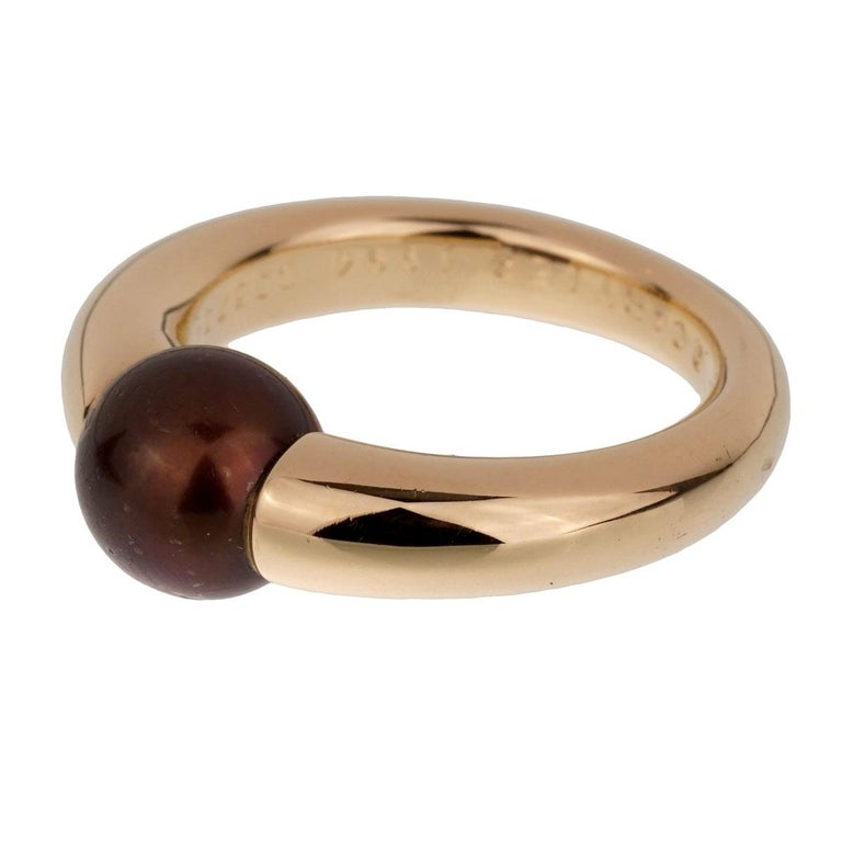 Women's or Men's Cartier Yellow Gold Black Pearl Ring For Sale