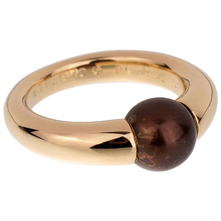 Cartier Yellow Gold Black Pearl Ring For Sale