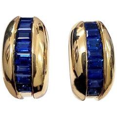 Cartier Yellow Gold Bombe Bean 1.50 Carat Blue Sapphire Earrings