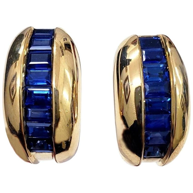 Cartier Yellow Gold Bombe Bean 1.50 Carat Blue Sapphire Earrings For Sale