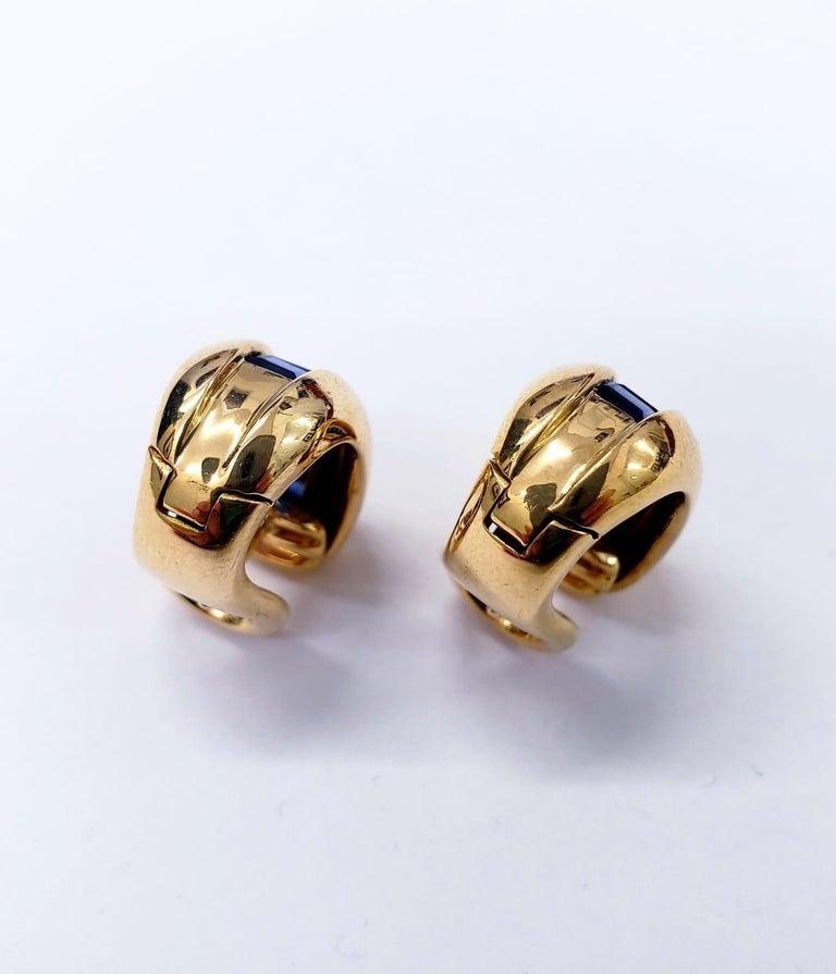 Emerald Cut Cartier Yellow Gold Bombe Bean 1.50 Carat Blue Sapphire Earrings For Sale