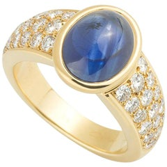 Cartier Yellow Gold Cabochon Sapphire and Diamond Ring