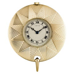Cartier Yellow Gold Cream Roman Dial Pendant Fob Watch with Gold Chain