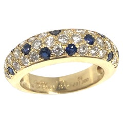 Cartier Yellow Gold Diamond and Sapphire Panther Mimi Band Ring