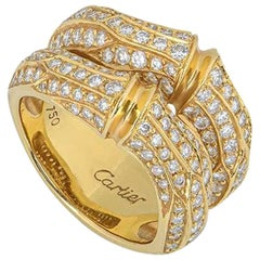 Cartier Yellow Gold Diamond Bamboo Ring