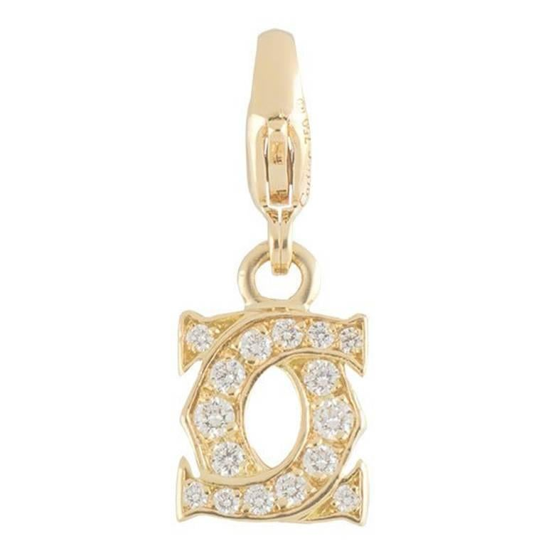 Cartier Yellow Gold Diamond C De Cartier Charm