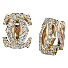 Cartier Yellow Gold Diamond Double C Collection Clip Earrings 2.25 Carat