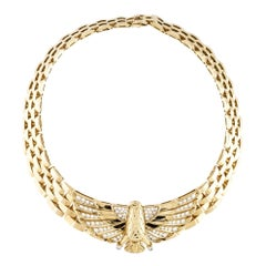 Cartier Yellow Gold Diamond Horus Collar 18 Karat Necklace