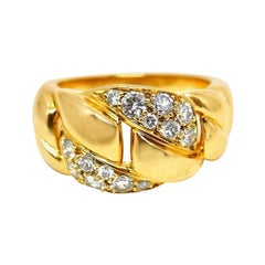 Cartier Yellow Gold Diamond Intertwined Band
