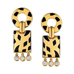 Cartier Yellow Gold Diamond Panther Bombe Drop Clips with Omega Backs and Posts