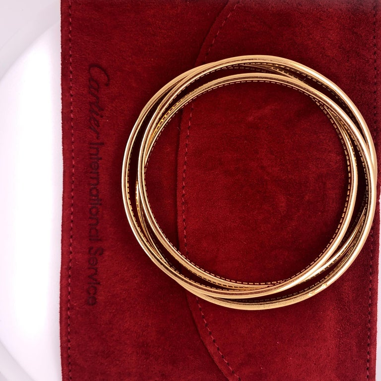 Modern Cartier Yellow Gold Diamond Trinity Bangles For Sale