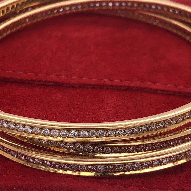 Round Cut Cartier Yellow Gold Diamond Trinity Bangles For Sale
