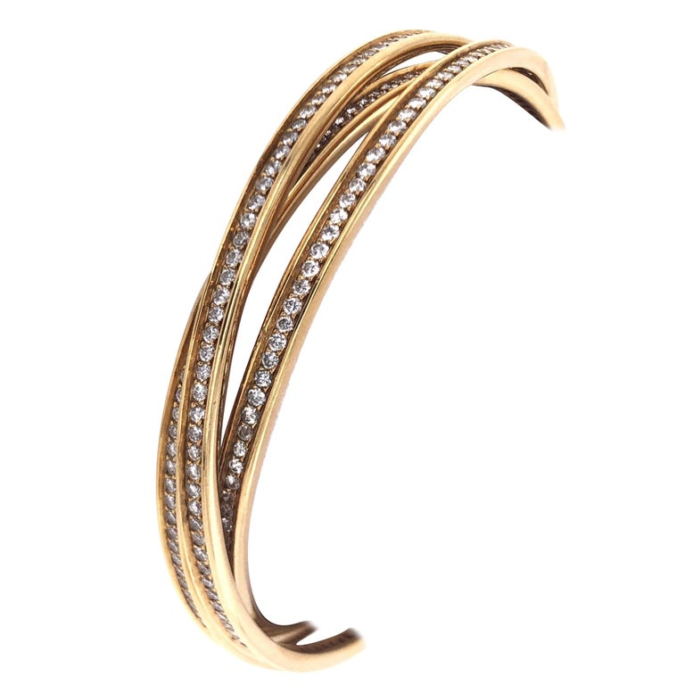 Cartier Yellow Gold Diamond Trinity Bangles For Sale