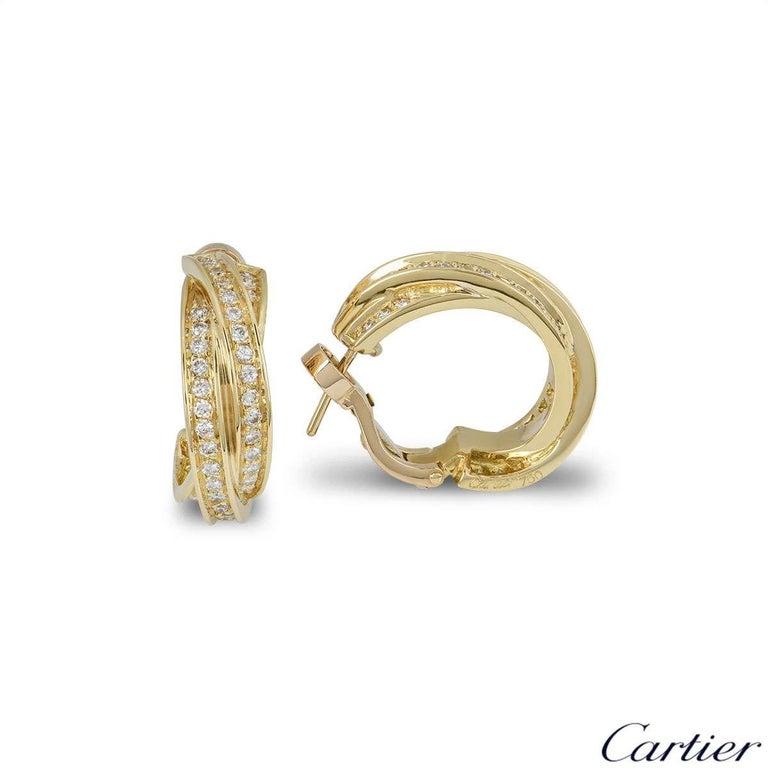 Brilliant Cut Cartier Yellow Gold Diamond Trinity Earrings For Sale