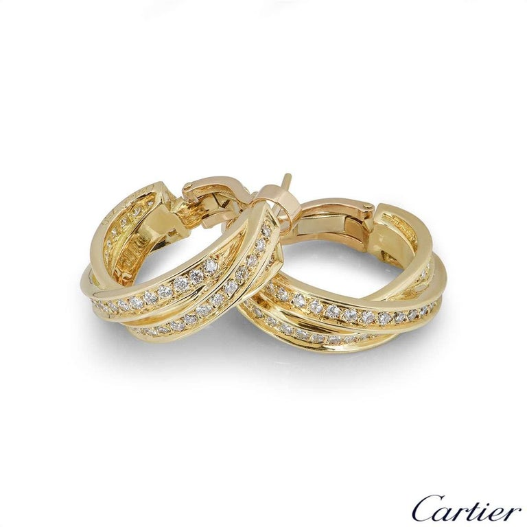 Cartier Yellow Gold Diamond Trinity Earrings In Excellent Condition For Sale In London, GB