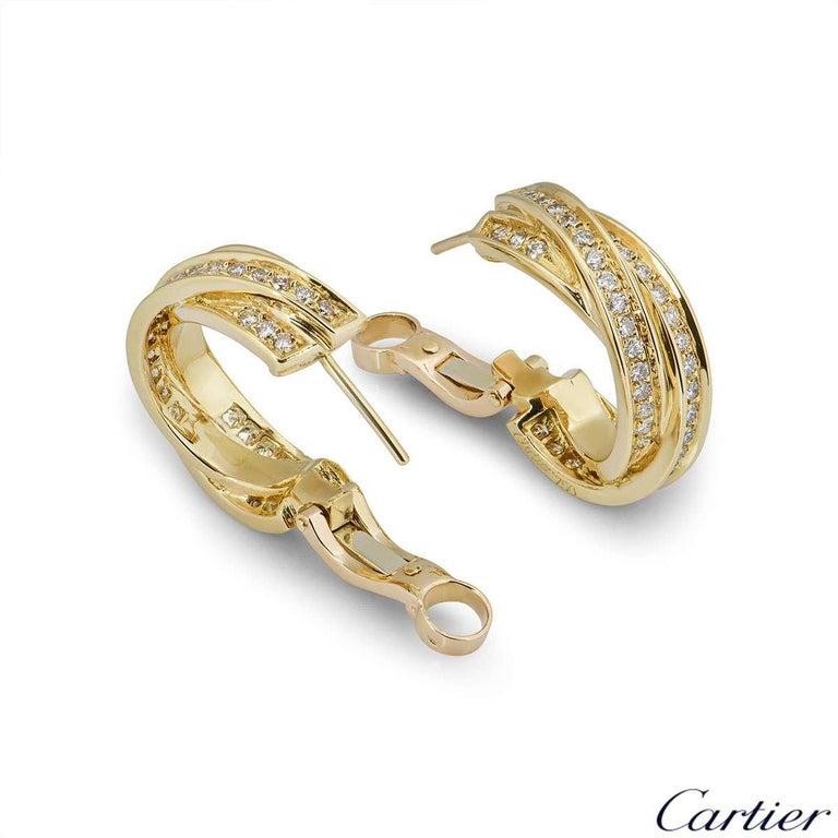 Women's Cartier Yellow Gold Diamond Trinity Earrings For Sale