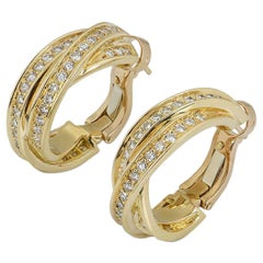 Cartier Yellow Gold Diamond Trinity Earrings