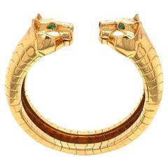 Cartier Yellow Gold Emerald and Onyx Bangle 'Lakarda' 18 Karat Bracelet