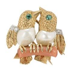 Cartier Yellow Gold Emerald & Diamond Lovebird Brooch